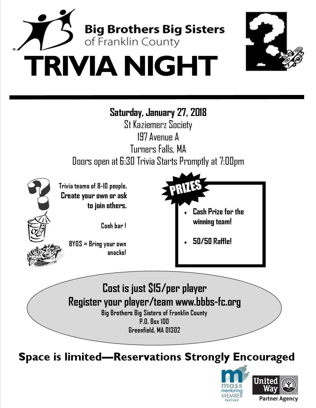 BBBS Trivia Night Jan 2018 flyer